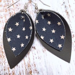von meyer jewelry Jewelry - Star blue white and black leather earrings: silver